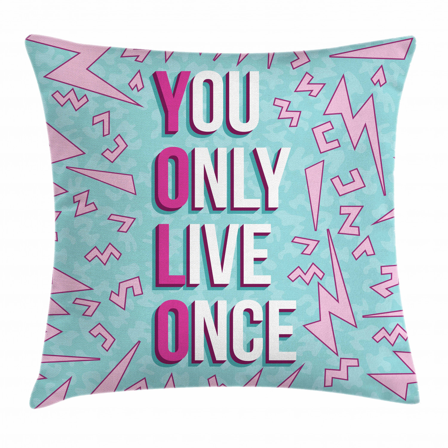 Yolo Throw Pillow Cushion Cover Abstract Shapes In Pastel Colors With Motivational Quote On Freedom Decorative Square Accent Pillow Case 18 X 18 Inches Pale Pink Purple Pale Blue By Ambesonne