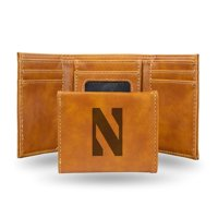 Northwestern Wildcats NCAA Laser Engraved Brown Synthetic Leather Trifold Wallet