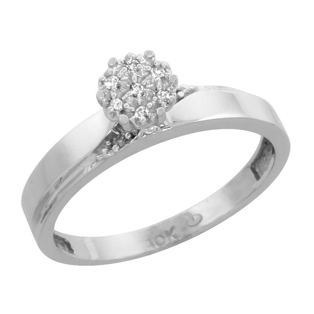 14k White Gold Diamond Engagement Ring, w/ 0.06 Carat Brilliant Cut Diamonds, 1/8in. (3.5mm) wide