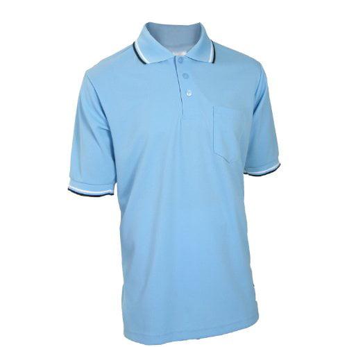 Adams USA Smitty Major League Style Short Sleeve Umpire Shirt with Front Chest Pocket Powder Blue, Medium
