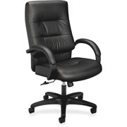 basyx VL690 Series Executive High-Back Leather Office Chair, Black Leather