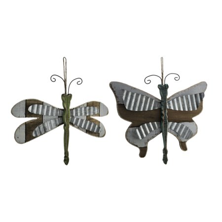 SET OF 2 Wood Dragonfly & - Wood Butterfly