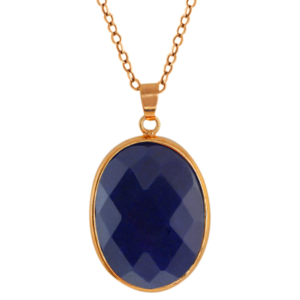 "Stunning 1"" Jadelite Faceted Blue Color Oval Pendant with 18"" Chain"