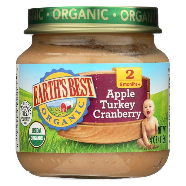 Earth's Best Organic Apple Turkey Cranberry Baby Food - Stage 2 - Pack of 12 - 4 Oz.