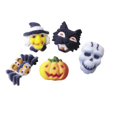 Mini Fright Assortment Sugar Decorations Toppers Cupcake Cake Cookies 12 Count - Halloween Decorated Cookie Cakes
