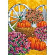 "Pumpkin Wagon Wheel Fall Autumn Decorative House Flag Large Banner 28"" x 40"""
