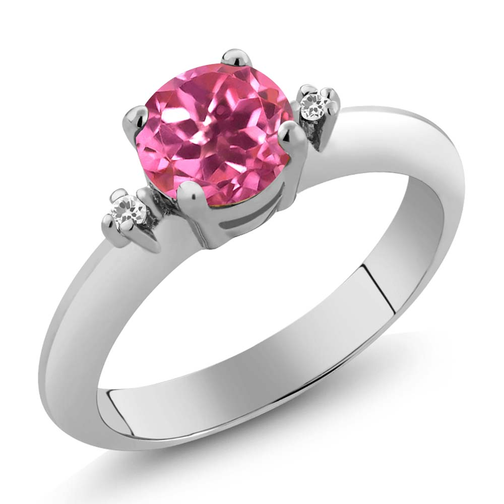 1.02 Ct Pink Mystic Topaz White Sapphire Sterling Silver 3-Stone Ring by