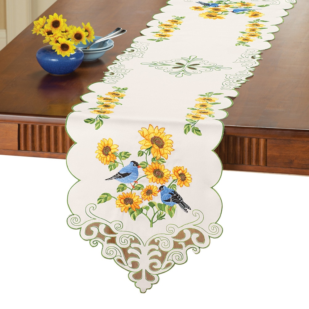 Embroidered Sunflower And Birds Table Linens, Runner by Collections Etc