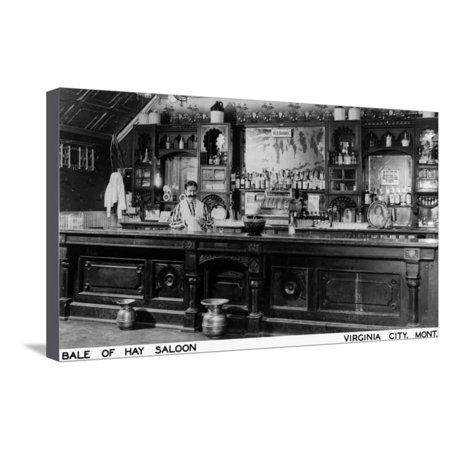 Virginia City, Montana - Interior View of Bale of Hay Saloon Stretched Canvas Print Wall Art By Lantern Press - Virginia City Montana Halloween