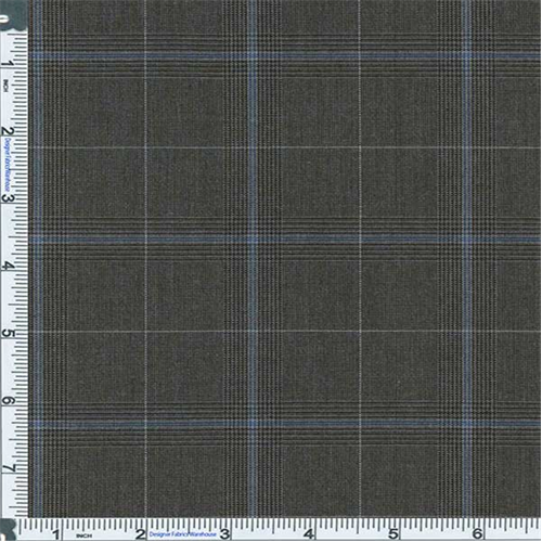 Black/Gray Glen Plaid Stretch Polyester, Fabric By the Yard