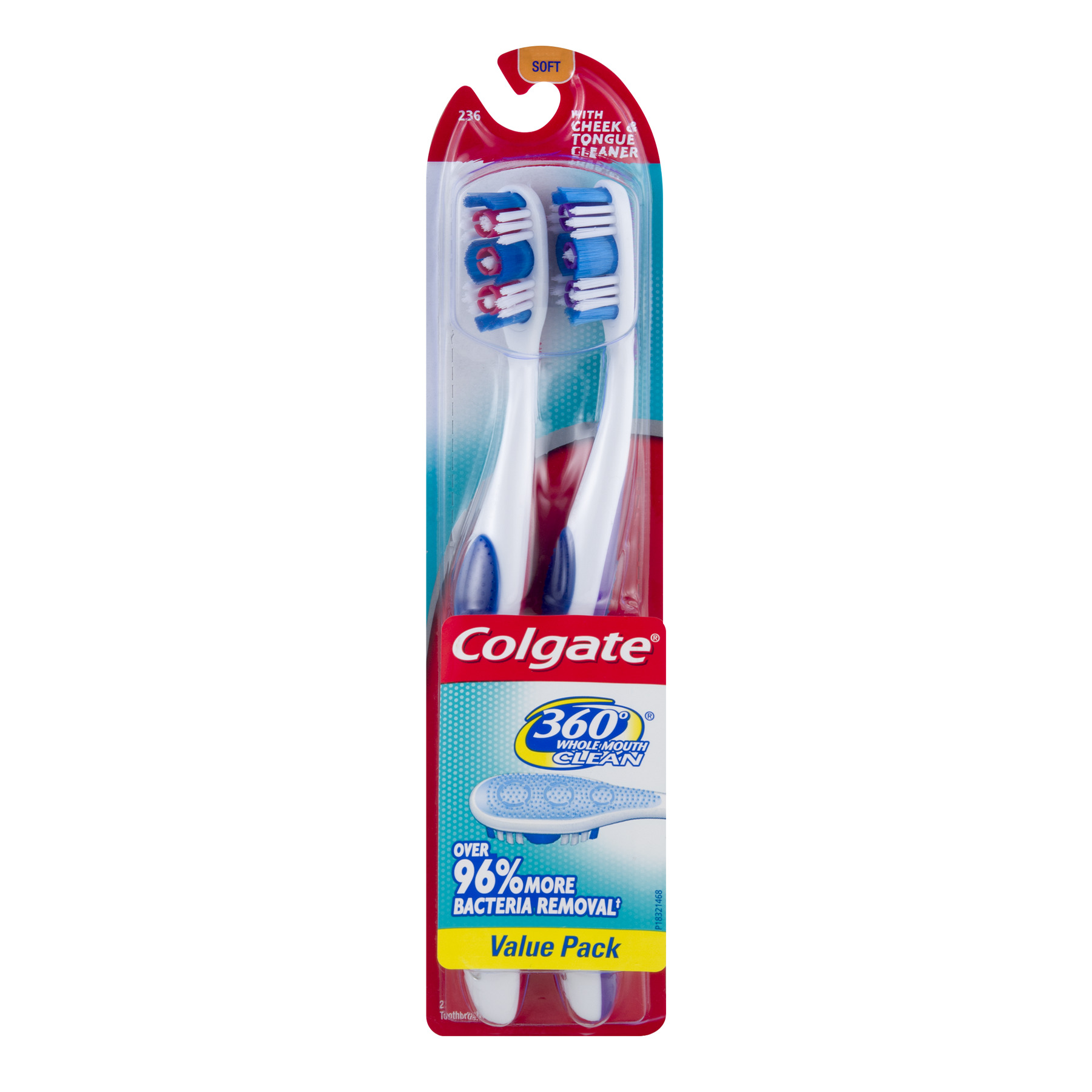 (Pack of 2) Colgate 360 Degree Whole Mouth Clean Manual Toothbrushes, Soft Bristle