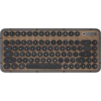 AZIO - Retro Compact Bluetooth Mechanical Keyboard with Back Lighting - Walnut Wood/Gunmetal