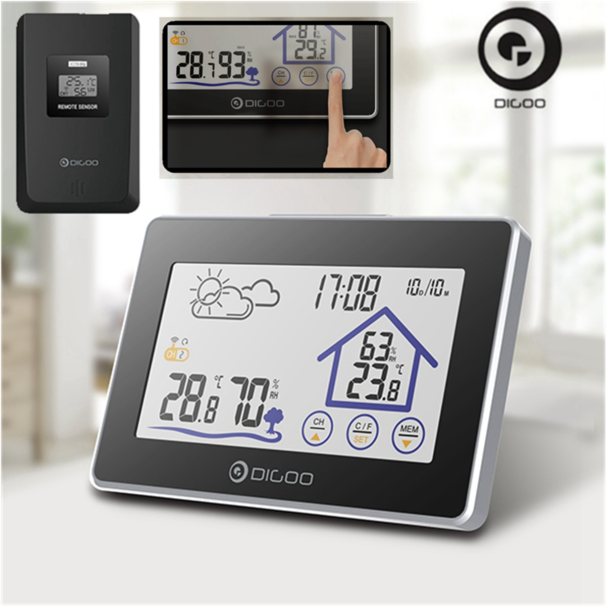 DIGOO Touch Screen Indoor Outdoor Weather Forecast Station for Home with Outdoor Sensor,12/24 Time & Calendar,Thermometer Hygrometer Clock
