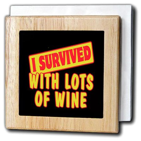3dRose I Survived With Lots Of Wine Funny Survial Pride And