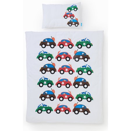 CARS Toddler Bedset Organic Cotton Crib/Duvet Cover and Pillowcase by