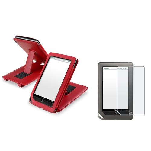Insten Red Leather Case W/Stand Pouch+Anti-Glare Screen Protector For B & N Nook Tablet