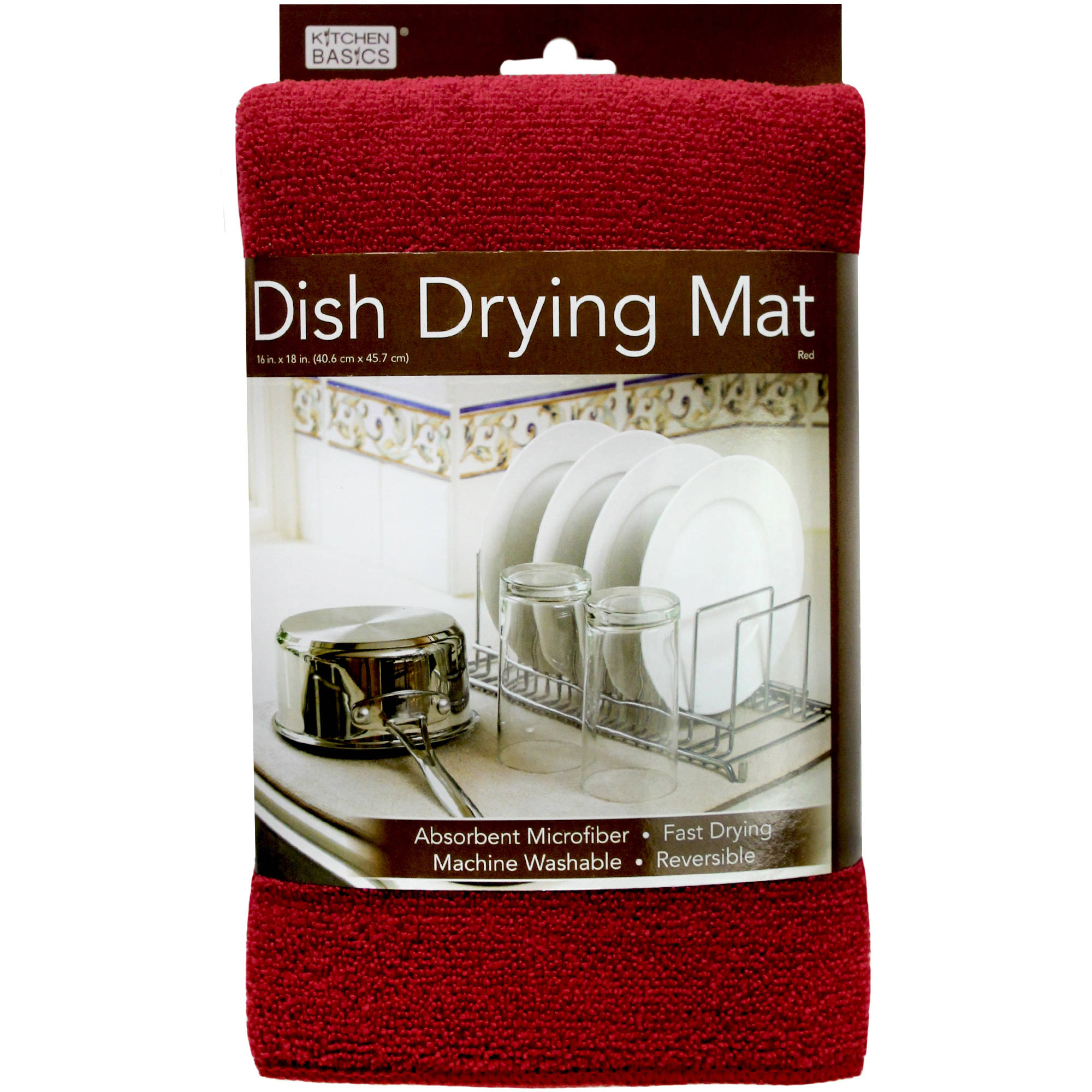 """RED 12""""x18"""" Home Collection *NEW* Absorbent Microfiber Dish Drying Mat"""