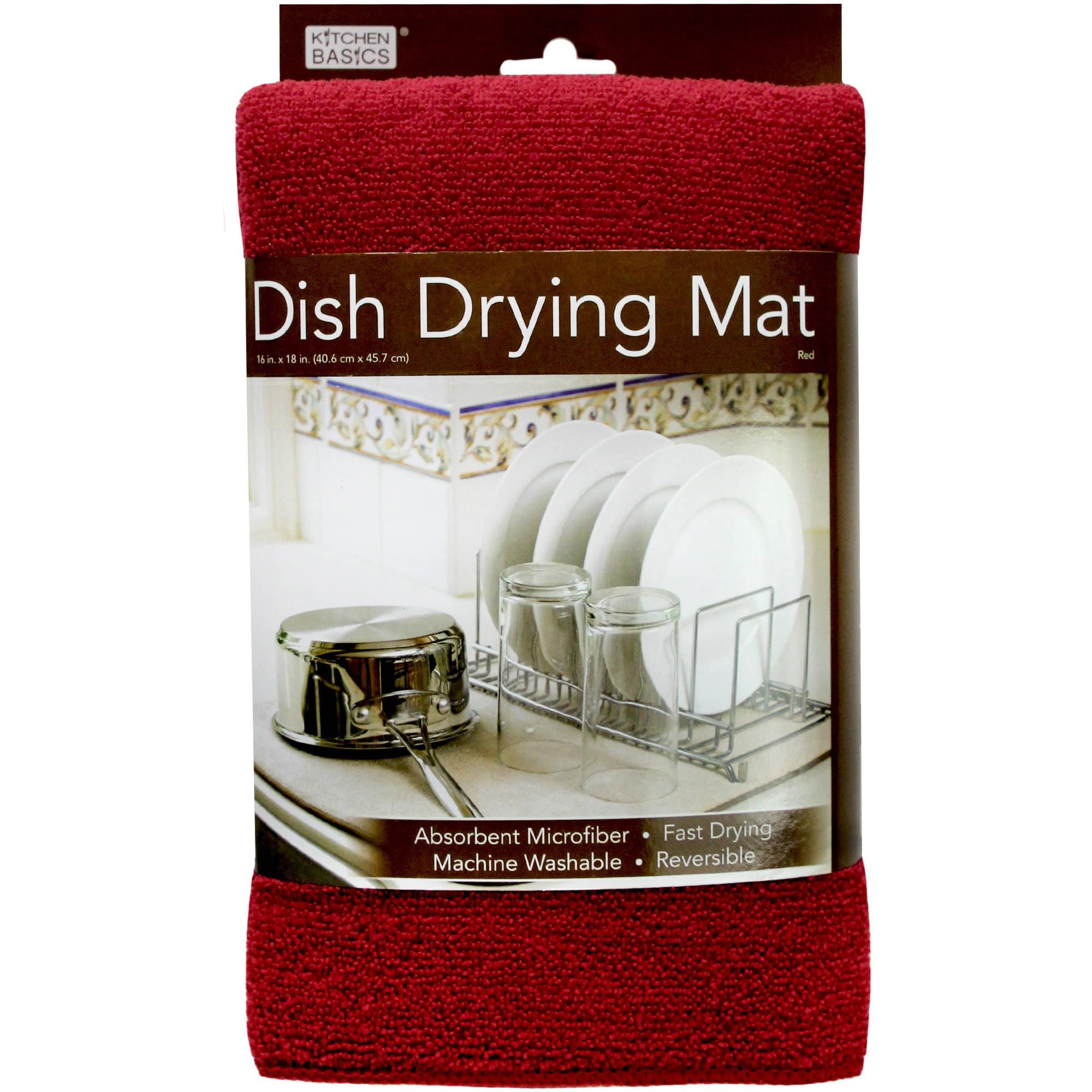 Kitchen Basics Reversible Microfiber Dish Drying Mat Red