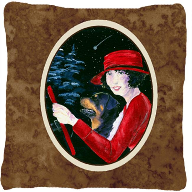Carolines Treasures SS8551PW1414 Lady driving with her Rottweiler Decorative Fabric Pillow - 14 x 14 in. - image 1 of 1
