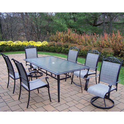 Aluminum Sling 7-piece Dining Set Black Color