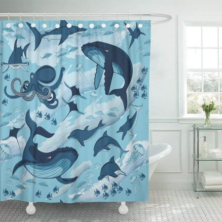 ARTJIA Blue Ocean Fish and Marine Animals Sea Waves Dolphins Sharks Whale and Octopus Drawing Deep Aqua Shower Curtain 60x72 inch Deep Blue Ocean Dolphins
