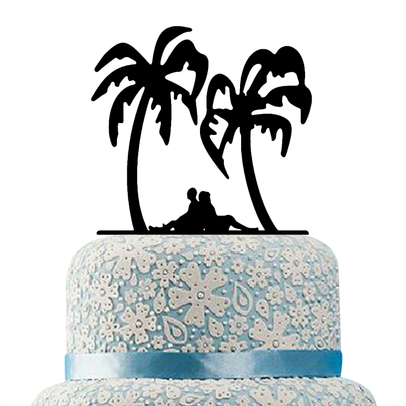 Buythrow Beach Wedding Bride and Groom Cake Topper