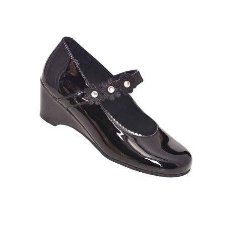 Rachel Shoes Girls Black Patent Flower Strap Wedge Heel Dress Shoes Black Patent Pu Kids Shoes
