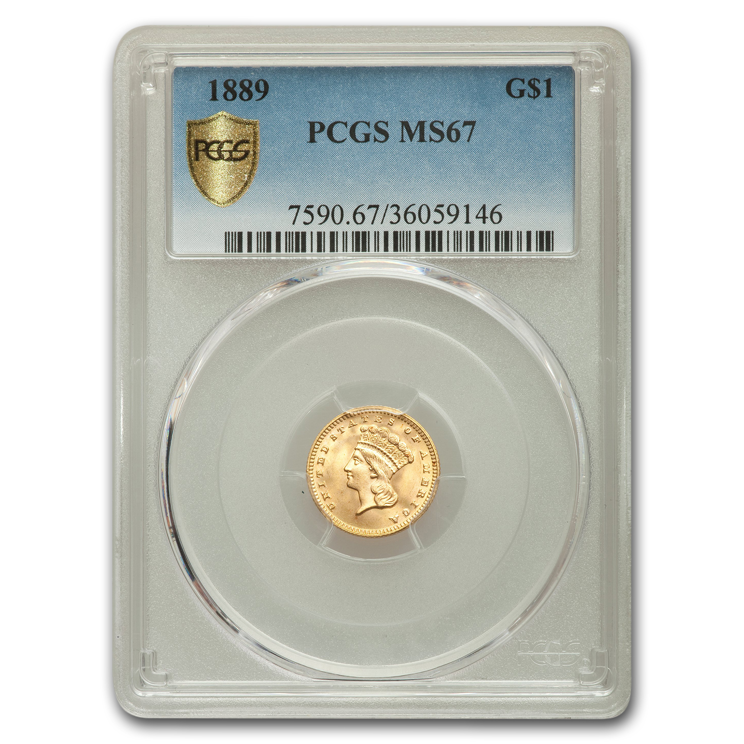 1889 $1 Indian Head Gold MS-67 PCGS