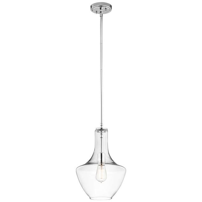 Kichler 42141CHCLR 15.25 in. Everly 1 Light Pendant, Chrome