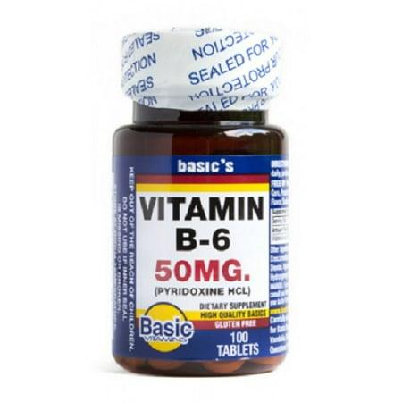 Basics Vitamin B 6 Tablets  50Mg  100Ct