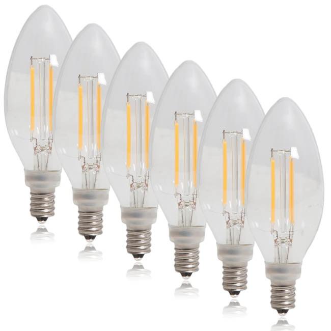 Maxxima Clear Filament Candelabra LED Light Bulb Warm White 350 Lumens (6 Pack)
