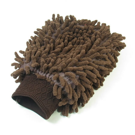 Household Chocolate Color Chenille Microfiber Double Face Car Cleaning Glove - image 1 of 1