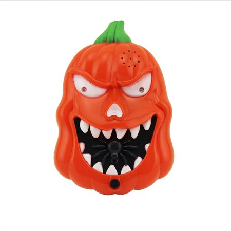 Flashing LED Sound Talking Pumpkin Doorbell Orange Jack O Lantern Halloween Decoration, Eyes light up Red, Spider Springs out, followed by eerie Ghostly sounds when Button is Pressed for $<!---->