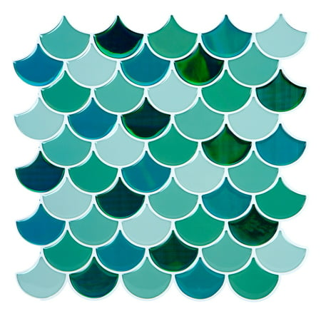 Simplify 4 Pack Scallop Greens Peel And Stick Wall Tile - Greens-10.2X10.2 Inch