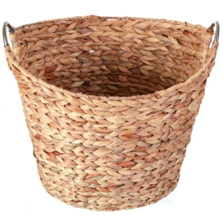 Large Round Water Hyacinth Wicker Laundry Basket Walmart Com