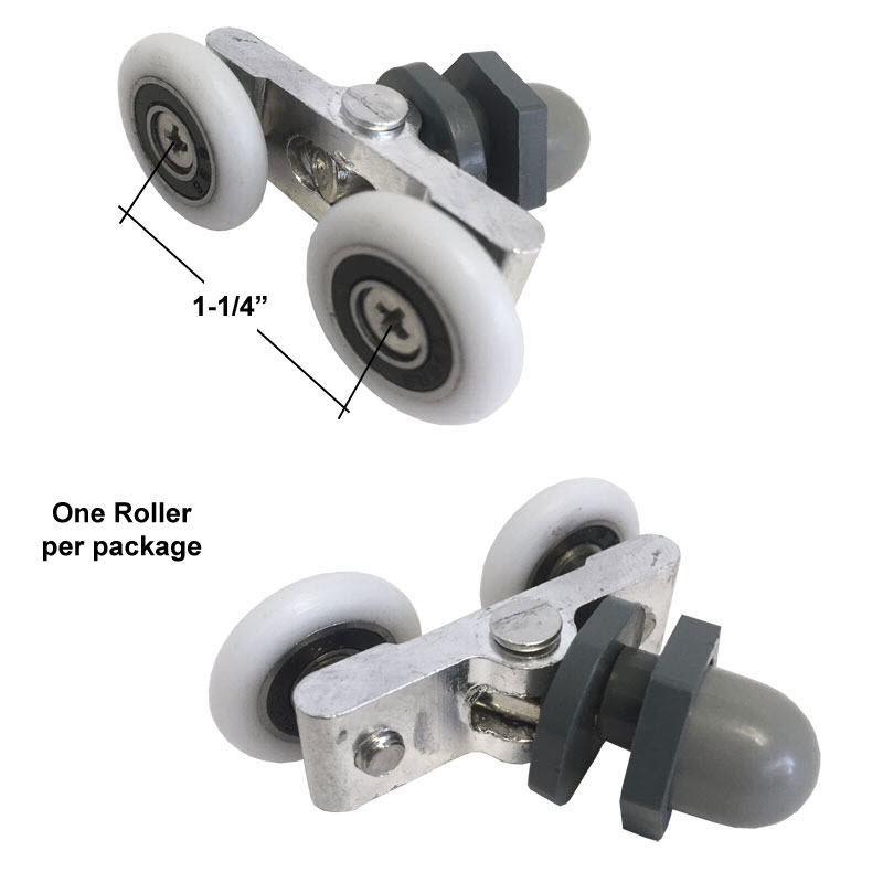 "Shower Door 7/8"" Diameter Ball Bearing Double Roller Assembly for Sliding Shower Doors from 3/16"" to 1/4"" thick"