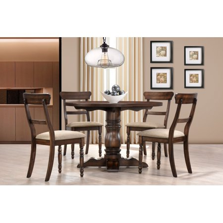 Best Master Furniture Selena Round 5-Piece Dinette Set, Burnish (Best Treatment For Oak Furniture)