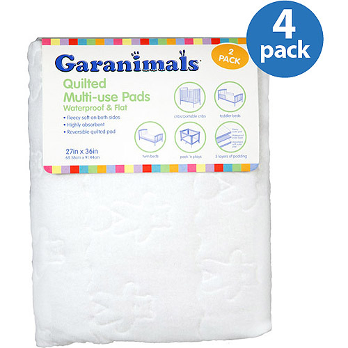 Garanimals - Quilted Waterproof Multi-Use Crib Pad, 4-Pack