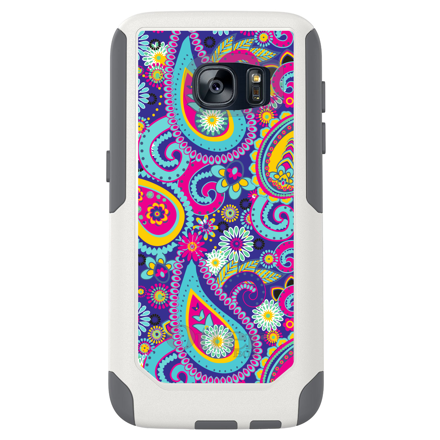 DistinctInk™ Custom White OtterBox Commuter Series Case for Samsung Galaxy S7 - Hot Blue Yellow Pink Paisley