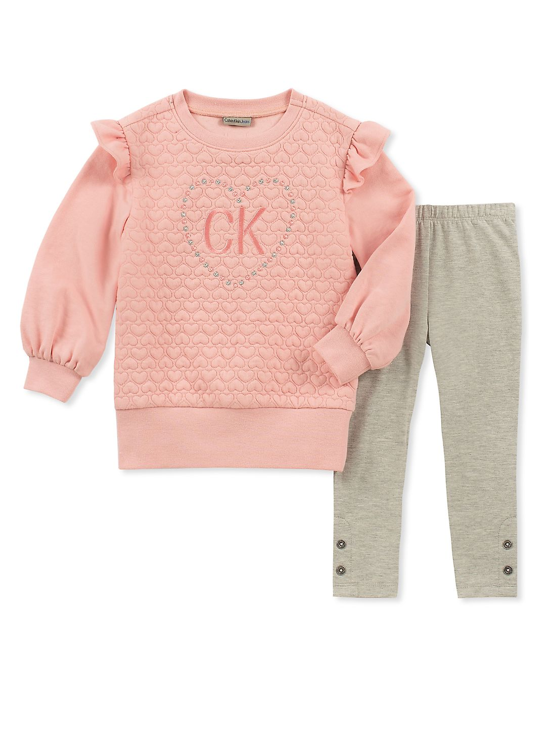 Little Girl's Two-Piece Quilted Top & Heathered Leggings Set