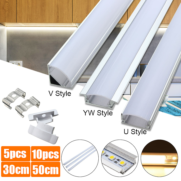 LightingWill LED Aluminum Channel Milk White Cover for U01 U02 V03 Style 1M//3.3ft 5 Pack