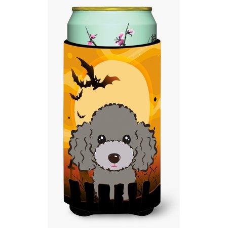 Halloween Silver Gray Poodle Tall Boy Beverage Insulator Hugger BB1817TBC - Halloween 1817
