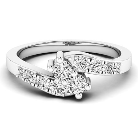 Dazzlingrock Collection 0.50 Carat (ctw) 14K White Diamond Ladies Two Stone Engagement Ring 1/2 CT, White Gold, Size 4.5