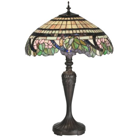 - Meyda Tiffany 99725 Tiffany Three Light Up Lighting Table Lamp from the Grapevine Collection