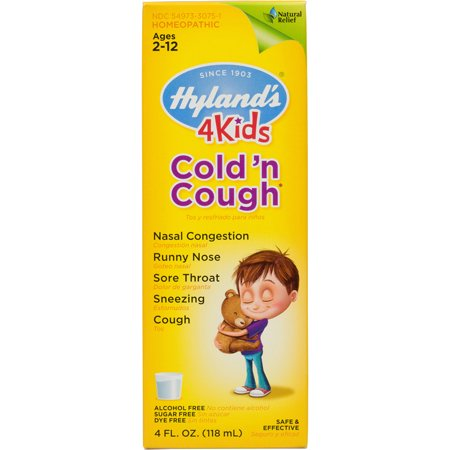 Hyland's 4 Kids Cold 'n Cough Relief Liquid, Natural Relief of Common Cold Symptoms, 4
