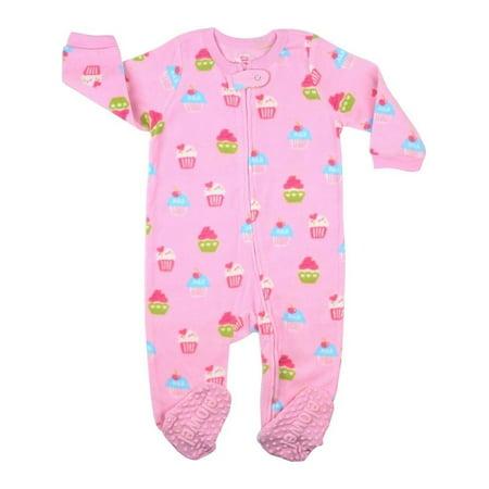 Elowel Baby Girls Pink Cupcake Print Footed Fleece Sleeper Pajama