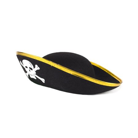 Fun Central AT853 1pc Black Pirate Hat for Kids, Pirate Hats Kids, Child Pirate Hat, Hat for Kids, Pirate Costume hat, Costume Pirate Hat for Kids - Black and Gold - Purple Pirate Hat