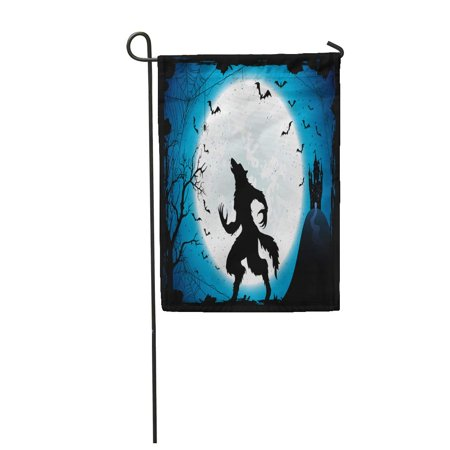 KDAGR Dark Halloween Moon on Blue Sky Castle and Werewolf Garden Flag Decorative Flag House Banner 12x18 inch](Sky Garden Halloween)