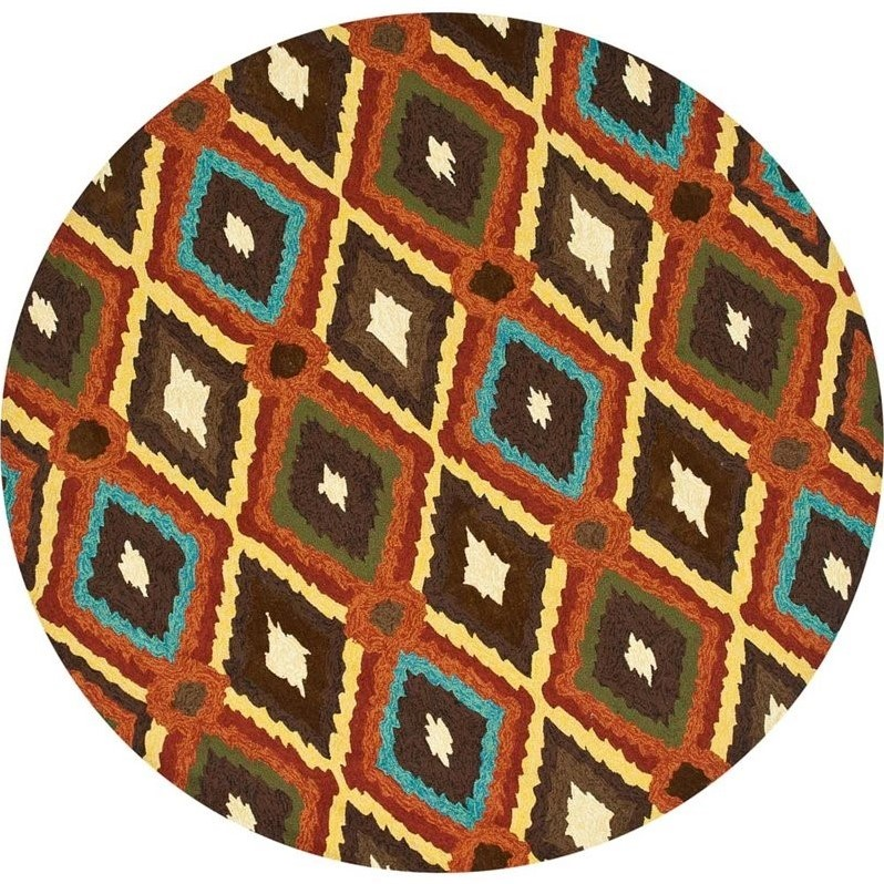 """Loloi Enzo 7'10"""" Round Hand Hooked Rug in Brown - image 2 of 2"""