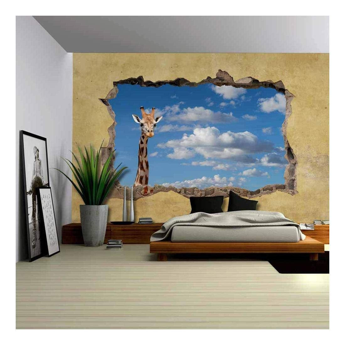 wall26 Giraffe Viewed through a Broken Wall - Large Wall Mural, Removable Peel and Stick Wallpaper, Home Decor - 66x96 inches